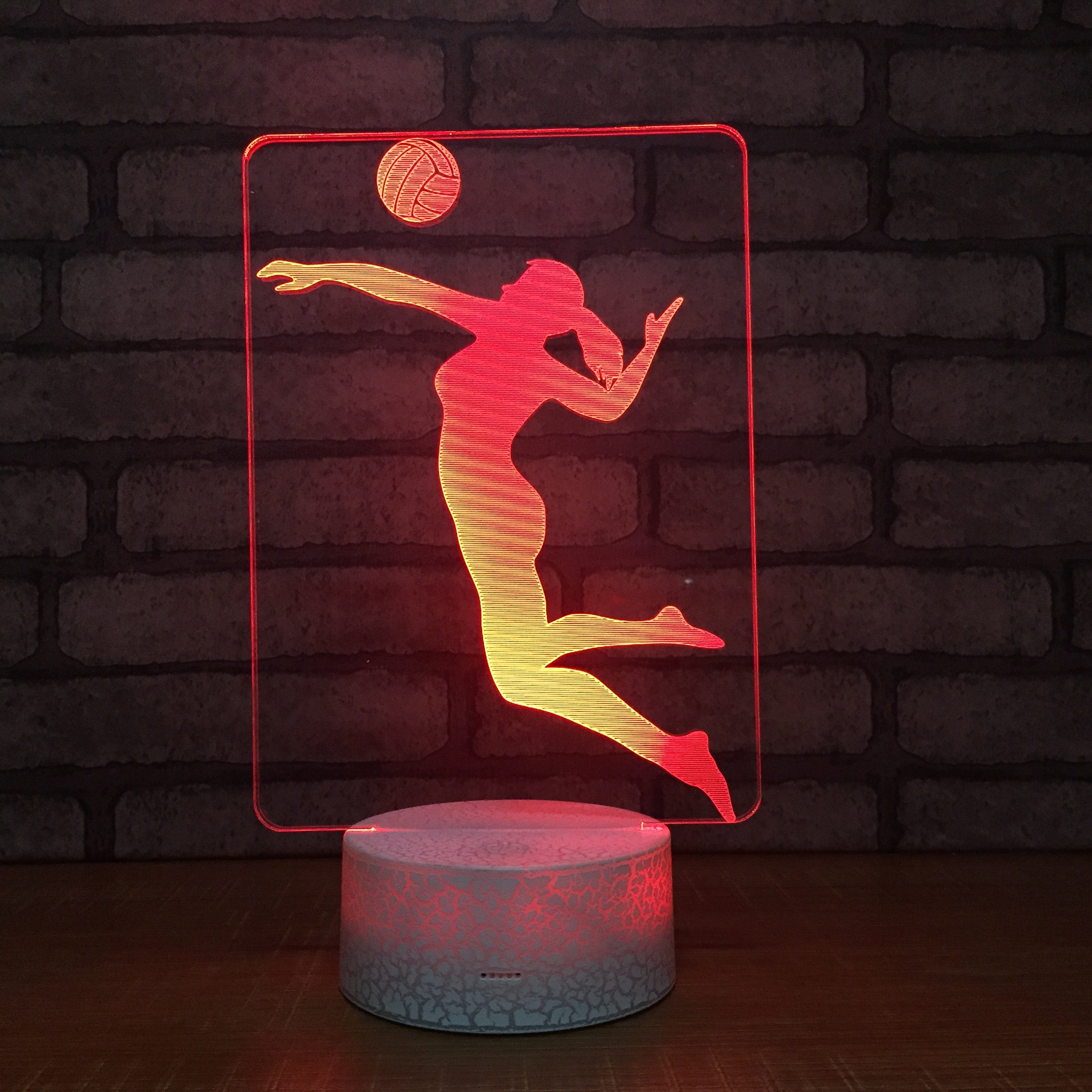 Circle Circle New Sports Female Woman Volleyball Player 3D Optical Illusion Lamp 7 Colors Change Touch Button and 20 Keys Remote Controller LED Night Light Toys for Children Kids