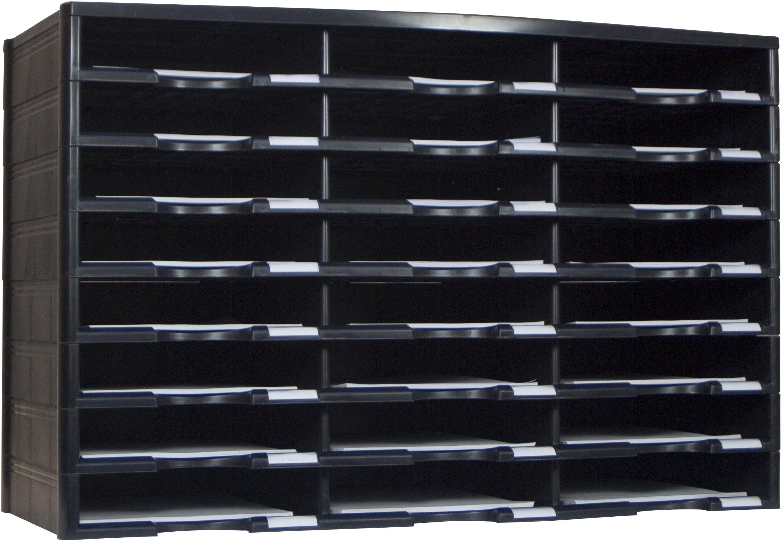 Storex 24-Compartment Literature Organizer, 31.38 x 14.13 x 20.5'', Black (61435U01C)