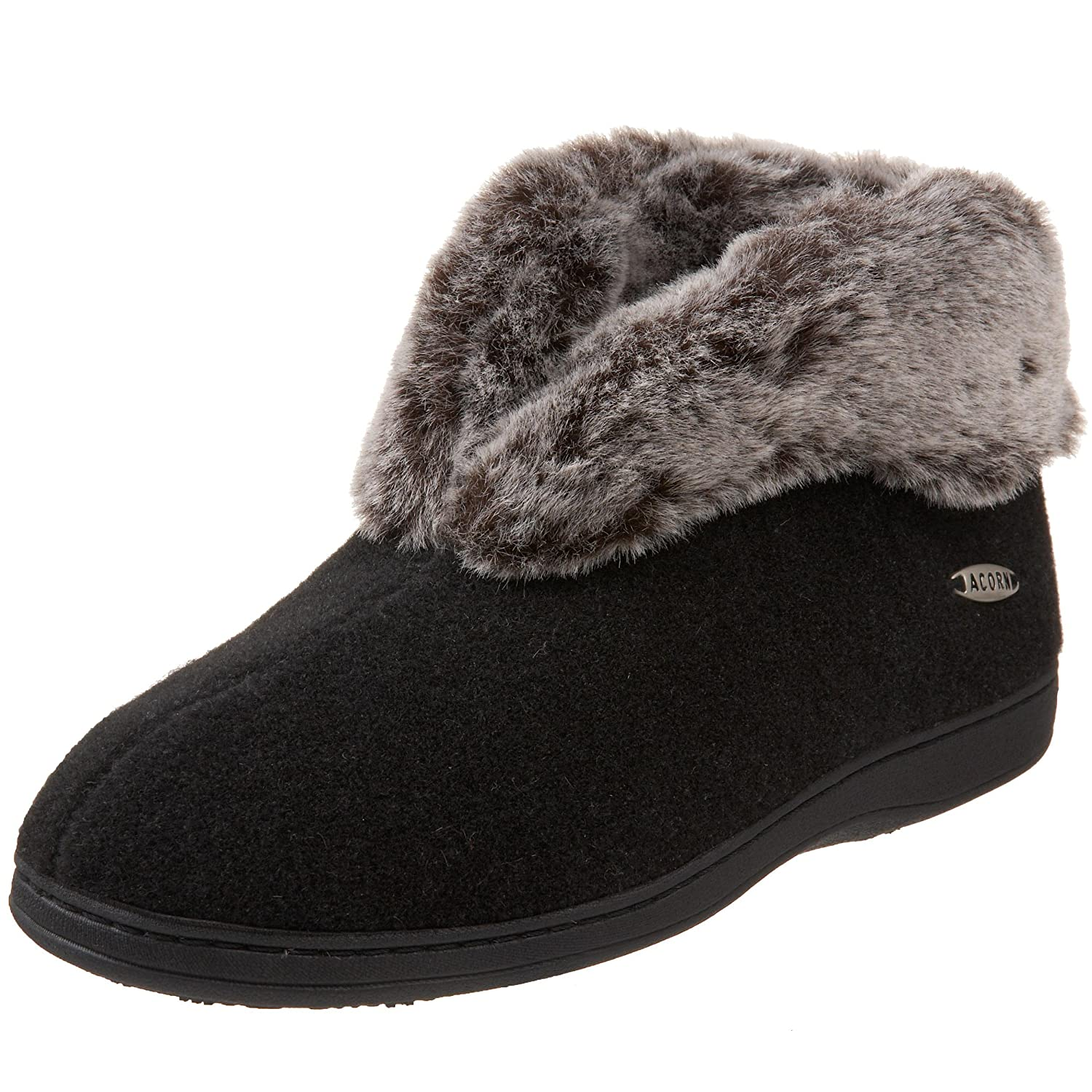 ACORN Women's Faux Chinchilla Slipper Bootie