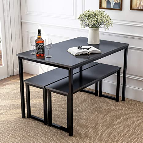 LENTIA 3-Piece Dining Table Set Kitchen Table with Two Benches Kitchen  Contemporary Home Furniture Wood Table Top with Metal Frame (Black)
