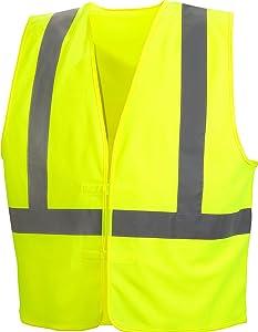 Pyramex Safety Hi-Vis Safety Vest with Reflective Tape, Hi-Vis Lime, X-Large