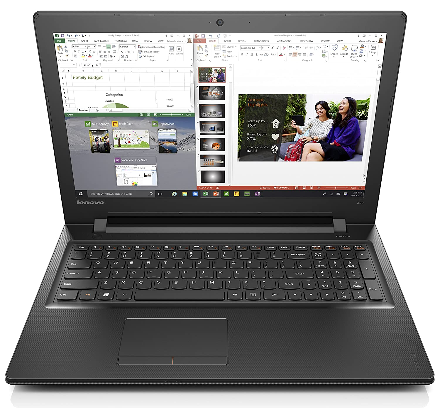 Lenovo Ideapad 300 15.6-Inch Laptop (Core i7, 8 GB RAM,...