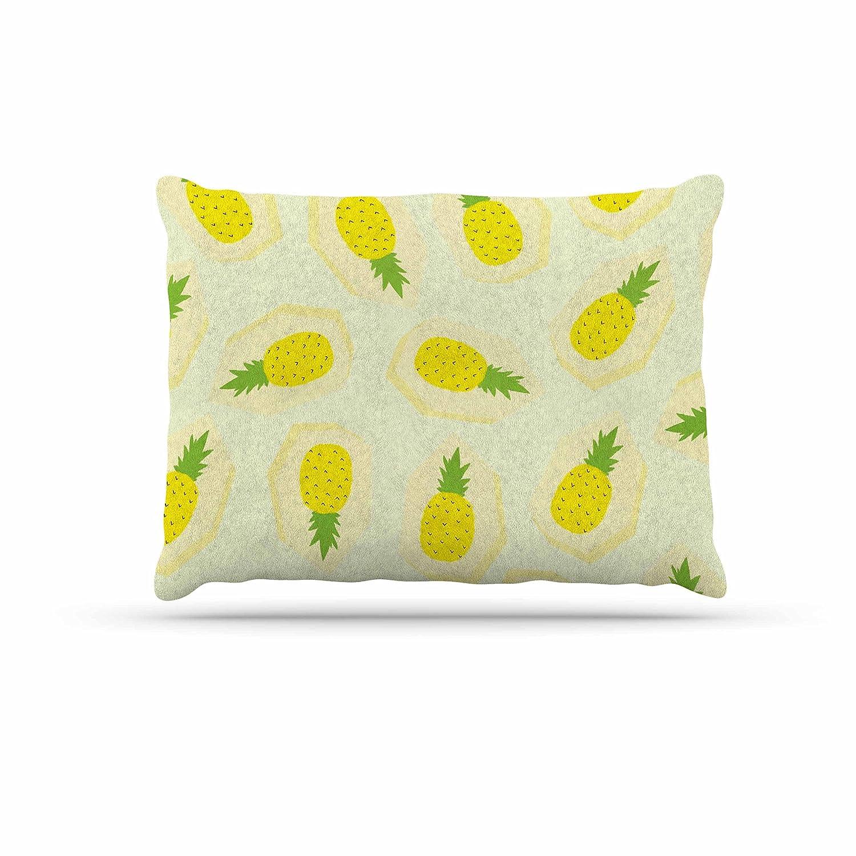 Kess InHouse Strawberringo Pineapple Pattern  Yellow Fruit Fleece Dog Bed, 30 by 40