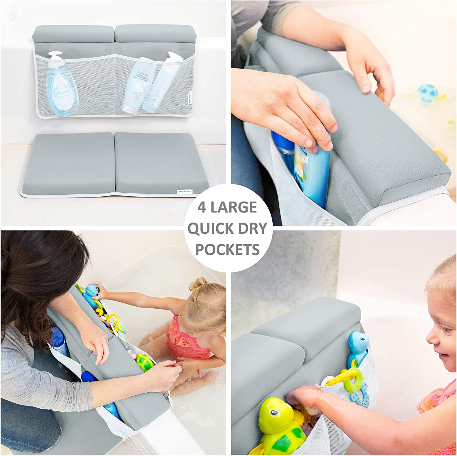 Bath Tub Elbow Pad with Infant Toy and Baby Accessories Organizer Grey Baby Bath Kneeler and Elbow Rest 1.75 inch Extra Thick Baby Bath Kneeling Pad and Elbow Pad for Bathtub