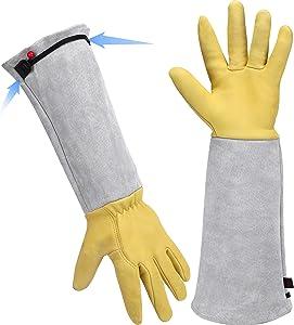 Long Gardening Gloves for Women/Men - Adjustable Cuff Goatskin & Cowhide Thorn Proof Cactus Rose Pruning Gloves Leather Work Gauntlet Puncture Proof Elbow Long Sleeve Garden Gloves for Gardener Gift