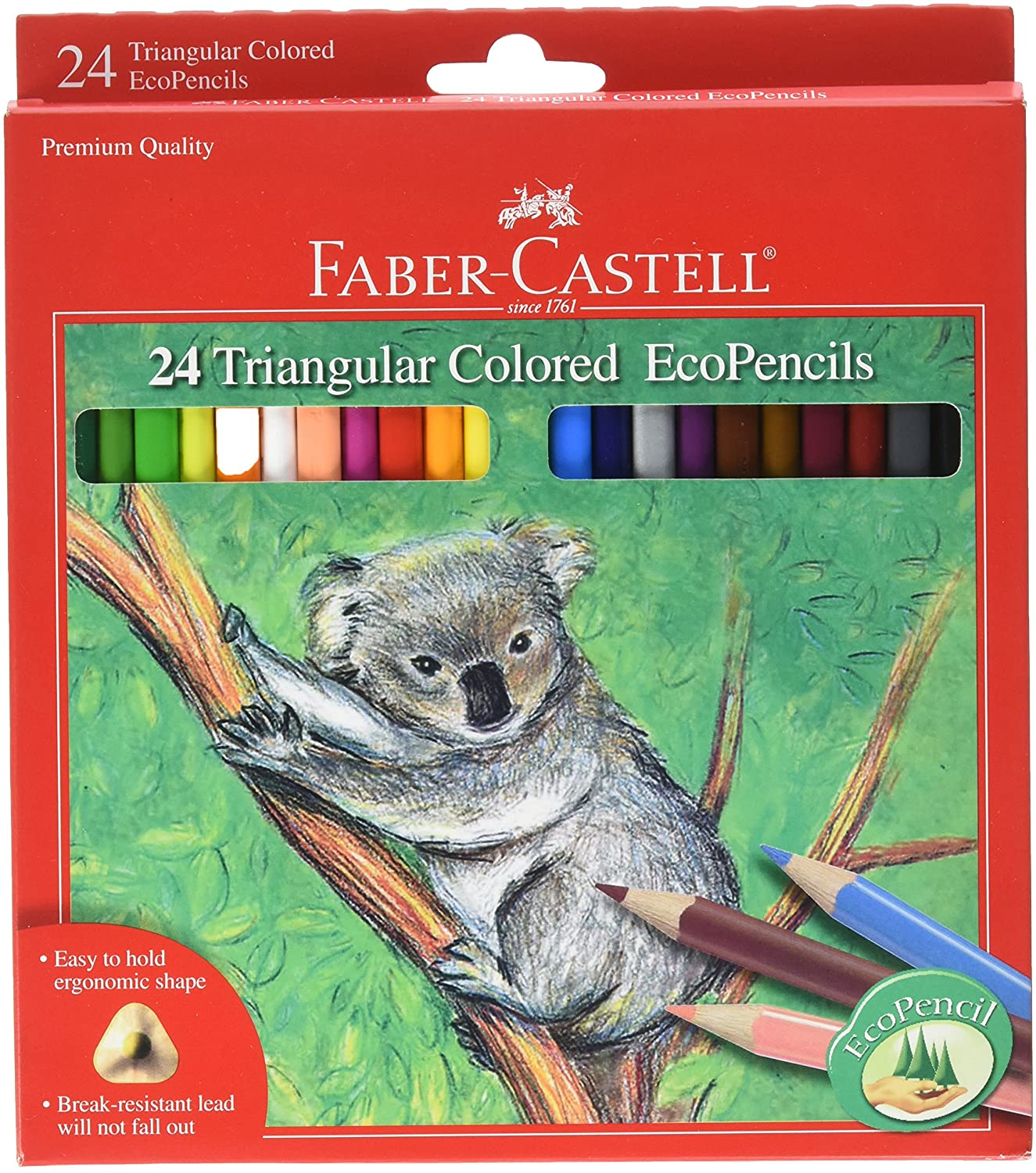 Faber-Castell Triangular Colored EcoPencils - 24 Count: Toys & Games