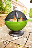 La Hacienda 58178 Enamelled Globe Firepit with Grill - Lime Green