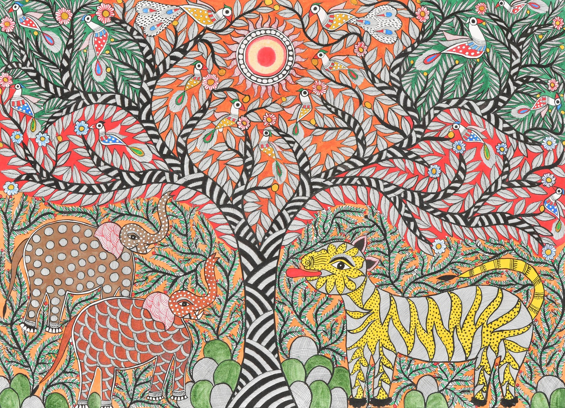 Tree of Life with Elephant Pair Tiger and Peacock - Madhubani Painting on Hand Made Paper - Folk Pai