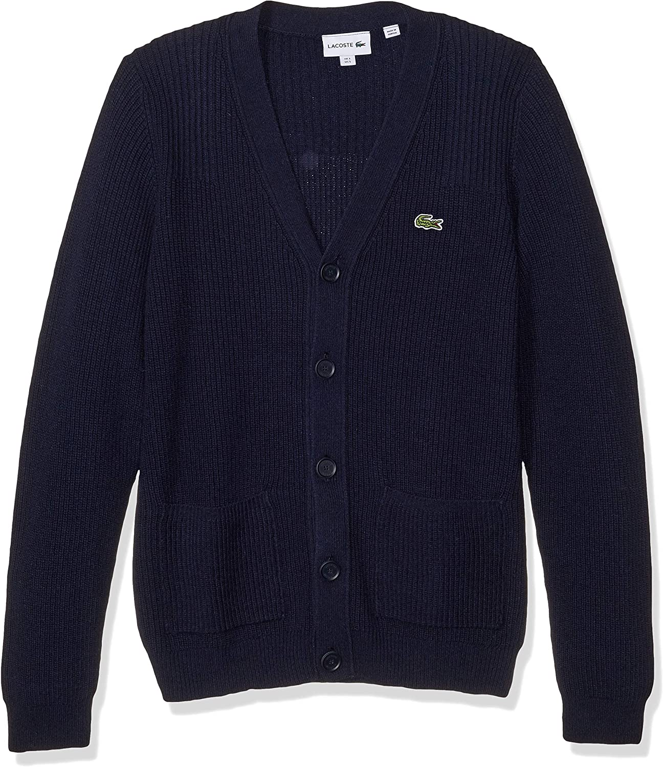 Lacoste Mens Long Sleeve Knit Effect Classic Sweater Cardigan Sweater