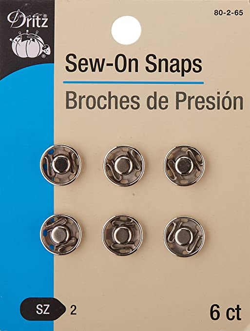 Dritz Sew-On Snaps Nickel Size 1