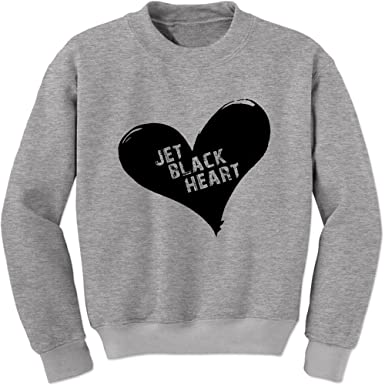 949e9d42 Amazon.com: Expression Tees Jet Black Heart Crewneck Sweatshirt ...
