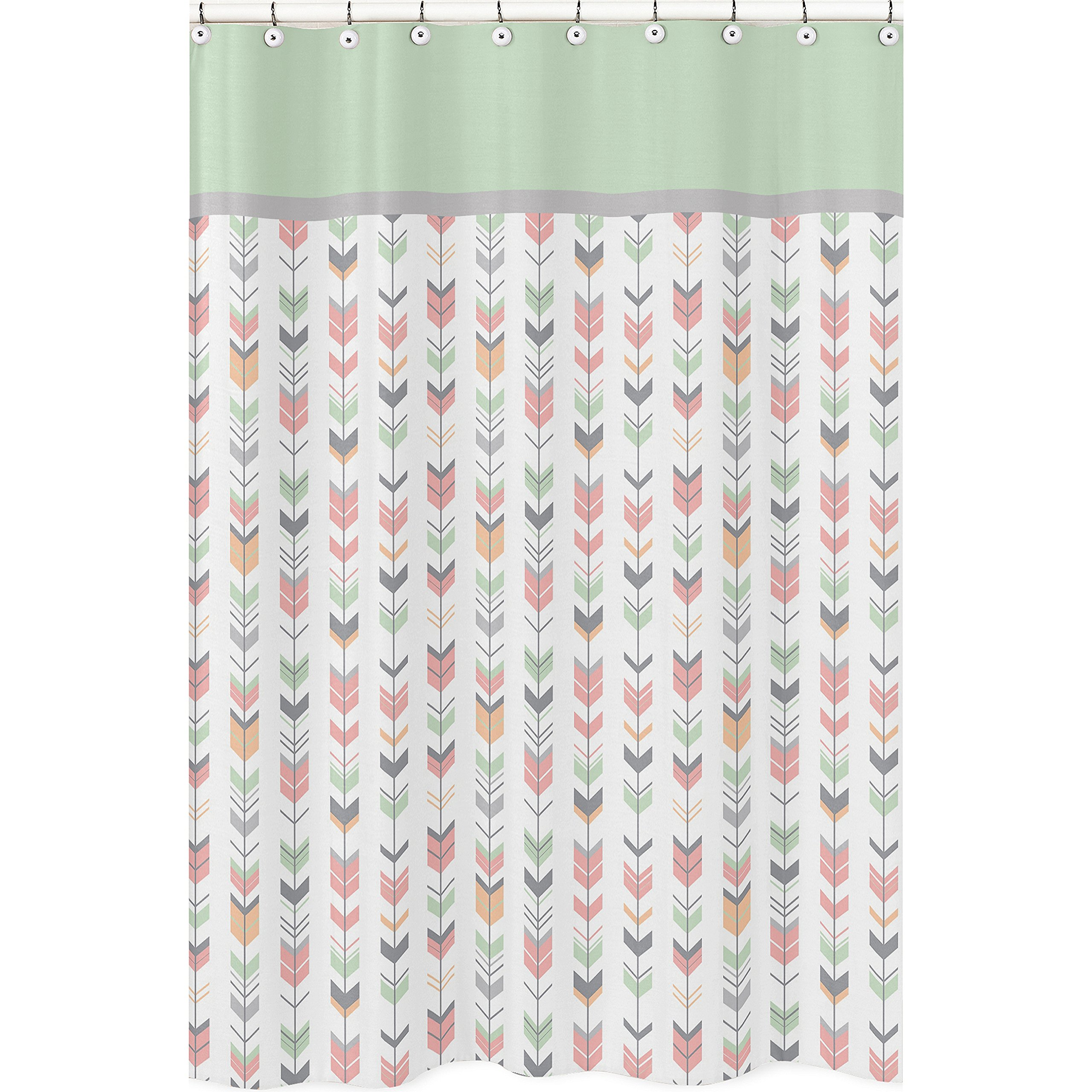 Sweet Jojo Designs Grey, Coral and Mint Woodland Arrow Girls Kids Bathroom Fabric Bath Shower Curtain