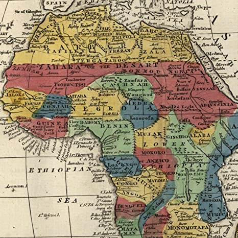 19th Century Africa Map.Amazon Com Africa Men Eaters Named 1808 Scarce Dublin Made Old Map