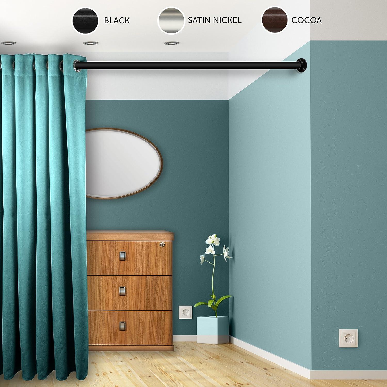 Rod Desyne 1.5 Premium Heavy Duty Wall Adjustable Room Divider Rod with Socket Set Black 28-48