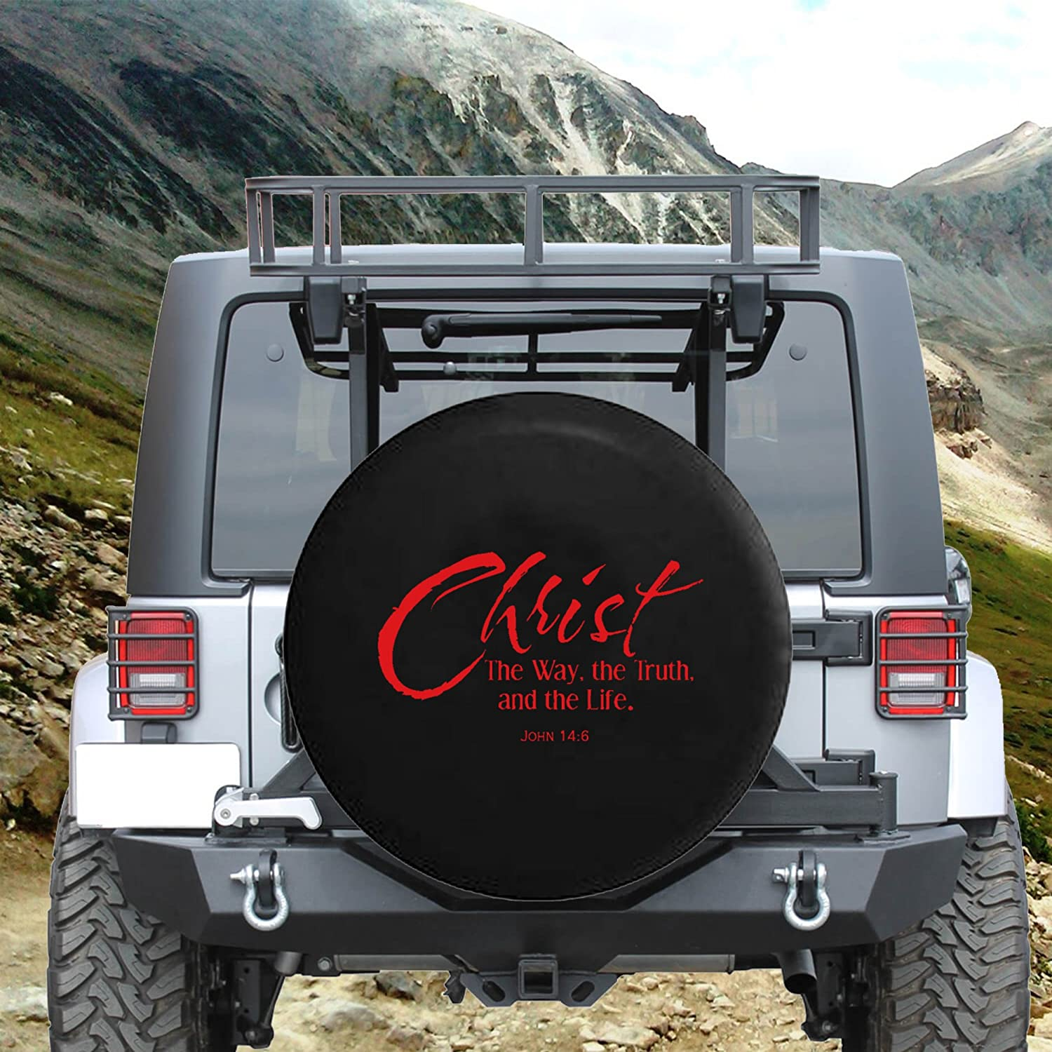 The Truth Christ The Way The Life John 14:6 Spare Jeep Wrangler Camper SUV Tire Cover Gray Ink 35 in Silver Back Covers