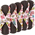Wegreeco Bamboo Reusable Sanitary Pads - Cloth Sanitary Pads - Pack of 5 (Medium, Lovely Bird)