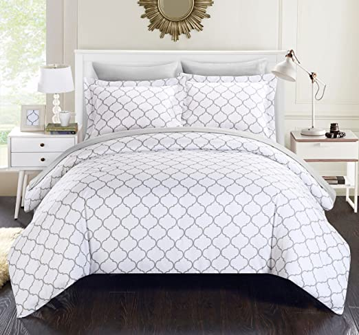 Chic Home 5 Piece Heather Geometric Diamond Printed Reversible Twin Bed in a Bag Comforter Grey with Sheet Set CS1603-AN