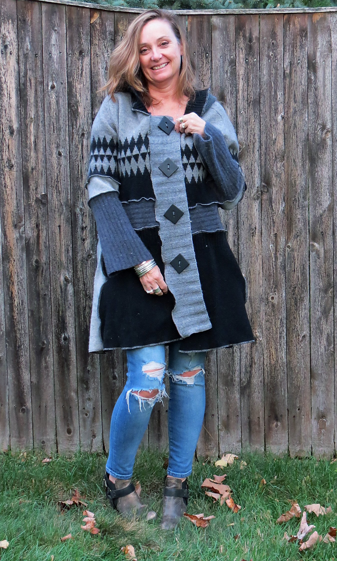 Black N Gray Geometric Fun Felted (Aline) Cardigan Coat