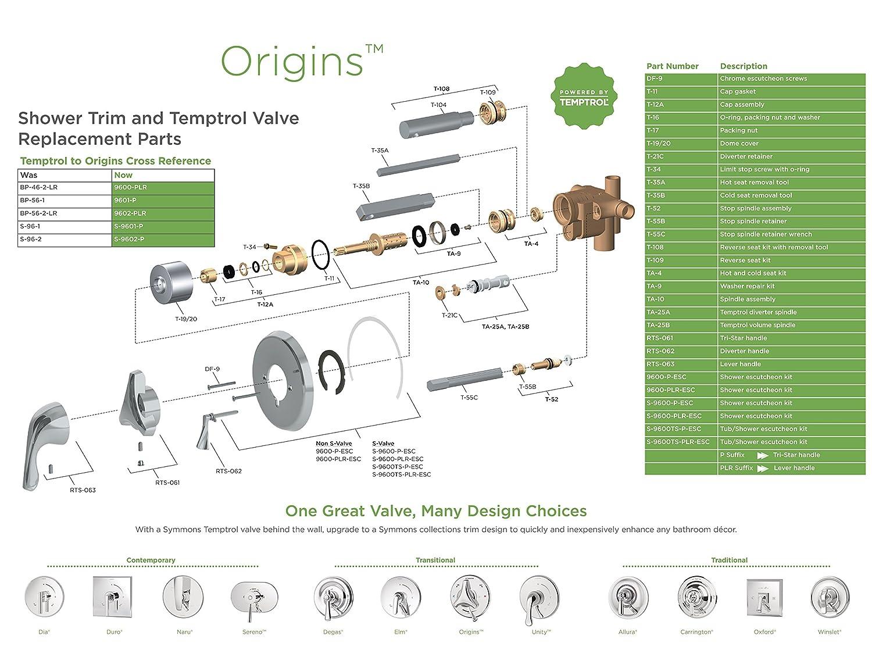 Symmons 9602-P-TRM Origins 1-Handle Tub & Shower Faucet Trim, Chrome ...