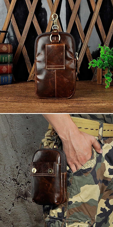 6546 A Coffee Leaokuu Mens Genuine Leather Small Hook Fanny Waist Bag Hip Bum Pouch Pack