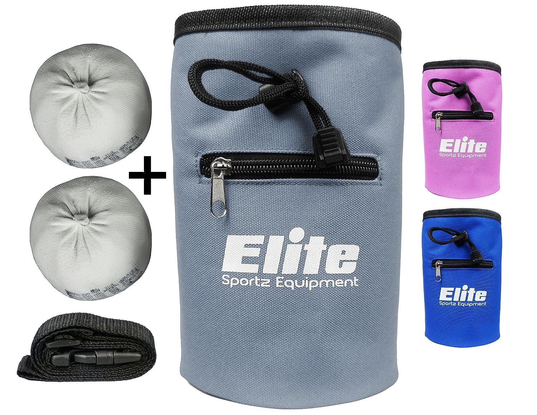 Elite Sportz Equipment Rock Climbing Chalk Bag and 2 x Chalk Balls No Leak Drawstring Bag and Secure Zip Pocket
