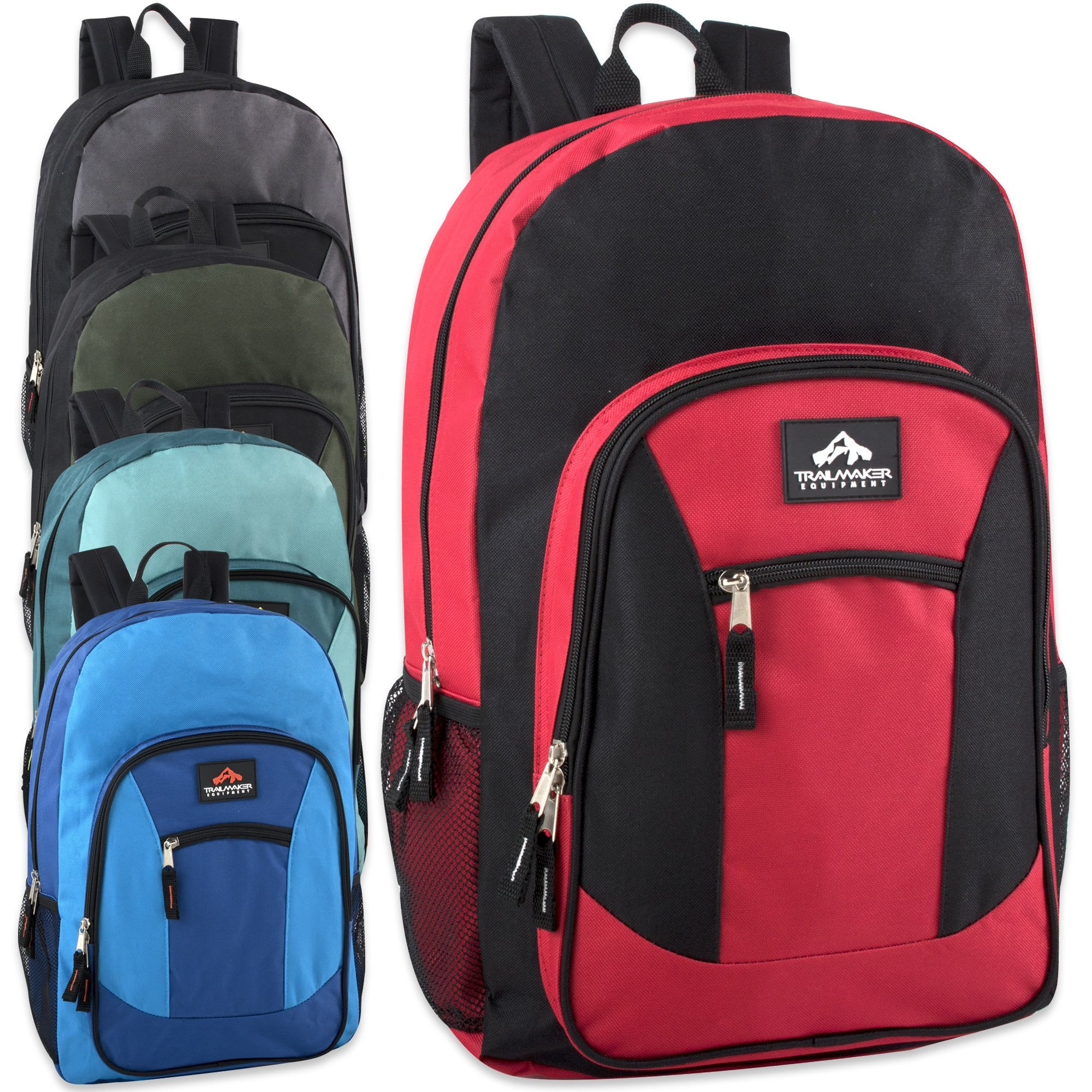 Wholesale Trailmaker 19 Inch Multi Pocket Backpack in Bulk 24 Packs (Boys Assorted) by Trail maker