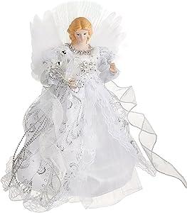 Kurt Adler CUL Fiber Optic LED Angel Christmas Treetop Figurine, 12-Inch, White and Silver