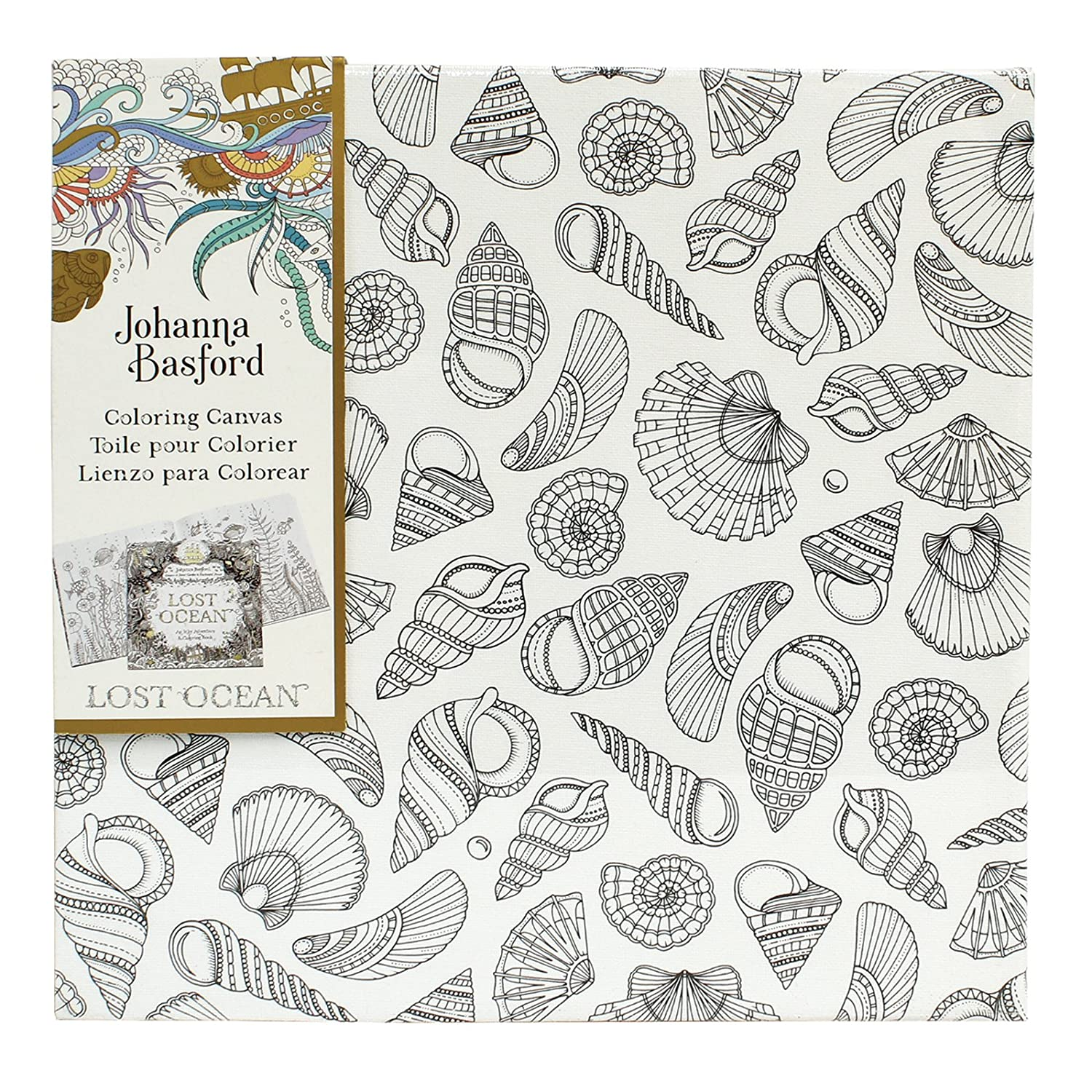 amazoncom johanna basford lost ocean coloring canvas seashells arts crafts sewing