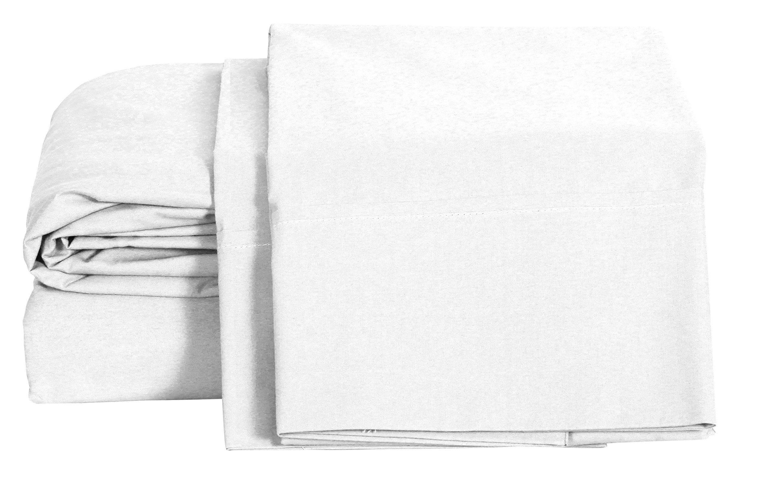 100% Cotton Percale Sheets King Size, White, Deep Pocket, 4 Piece - 1 Flat, 1 Deep Pocket Fitted Sheet and 2 Pillowcases, Crisp and Strong Bed Linen