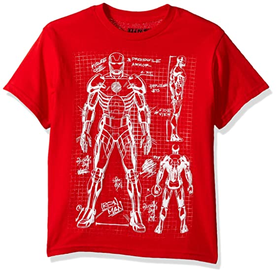 marvel big boys iron man suit drawing t shirt red
