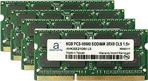 Adamanta 32GB (4x8GB) Laptop Memory Upgrade for Dell Precision M4600 DDR3 1333Mhz PC3-10600 SODIMM 2Rx8 CL9 1.5v Notebook DRAM