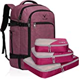 Hynes Eagle Travel Backpack 40L Flight Approved Carry on Backpack, Red Violet with Red Violet 3PCS Packing Cubes 2018 (Purple) - HE0691-4PCNN