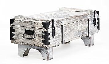 Alte Truhe Kiste Tisch Shabby Chic Holz Beistelltisch Holztruhe