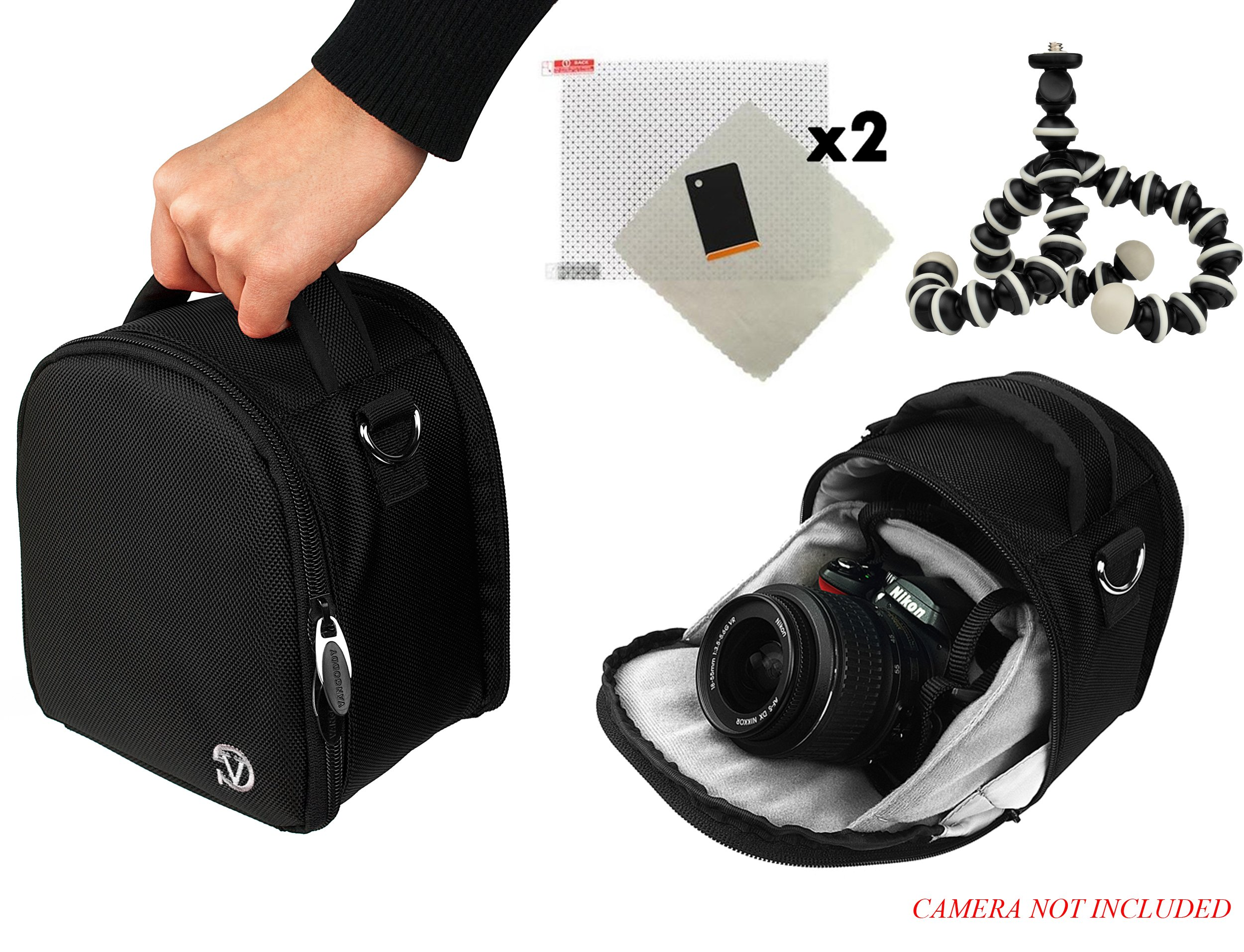 Vangoddy Laurel Travel Camera Bag Case For Canon EOS 1000D (Rebel XS/Kiss F), 100D (Rebel SL1), 10D, 1100D (Rebel T3/Kiss X50) DSLR Camera + Screen Protector + Screen Protector + Mini Tripod