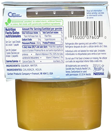 Gerber 2nd Foods Vegetables - Butternut Squash - 4 oz - 2 ct - 8 pk: Amazon.com: Grocery & Gourmet Food