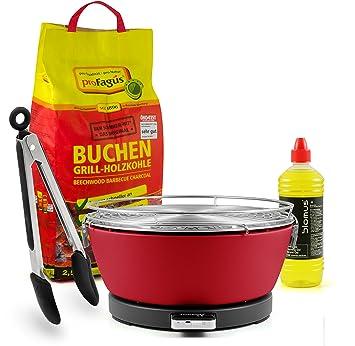 Fuego Diseño Carbón mesa grill Vesuvio, Rojo, incluye 2,5 kg Barbacoa de