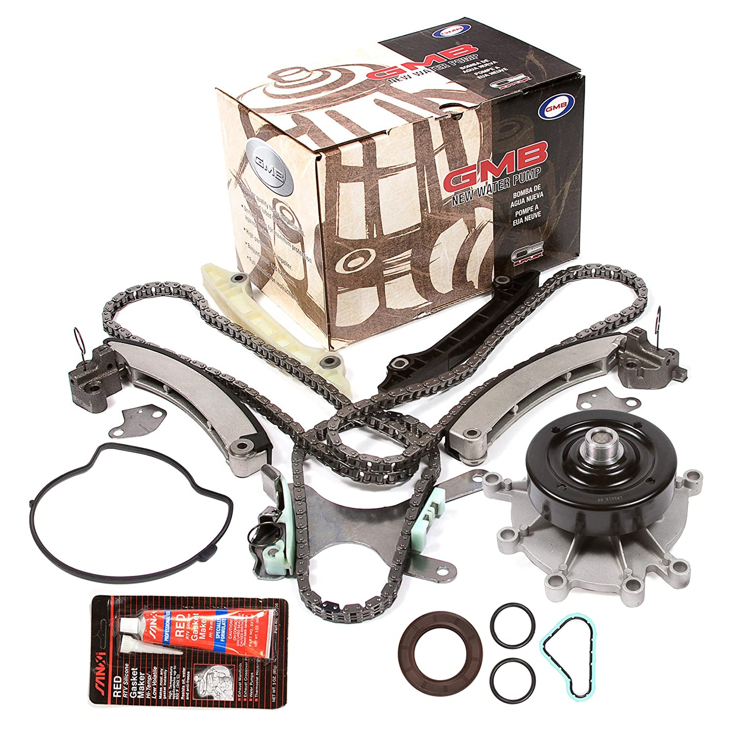 Evergreen TKTCS5037NGWP 02-11 Jeep Dodge Mitsubishi 3.7L Timing Chain Kit Water Pump (without Gears) Timing Cover Gasket Evergreen Parts And Components