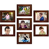 Swadesi Stuff Latest Design Classic set of 7 Individual Family Wall Hanging Collage Photo Frames (Brown)