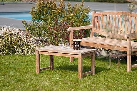 MACABANE 501008 Table Basse Couleur Brut en Teck Dimension 90cm X 45cm X  45cm