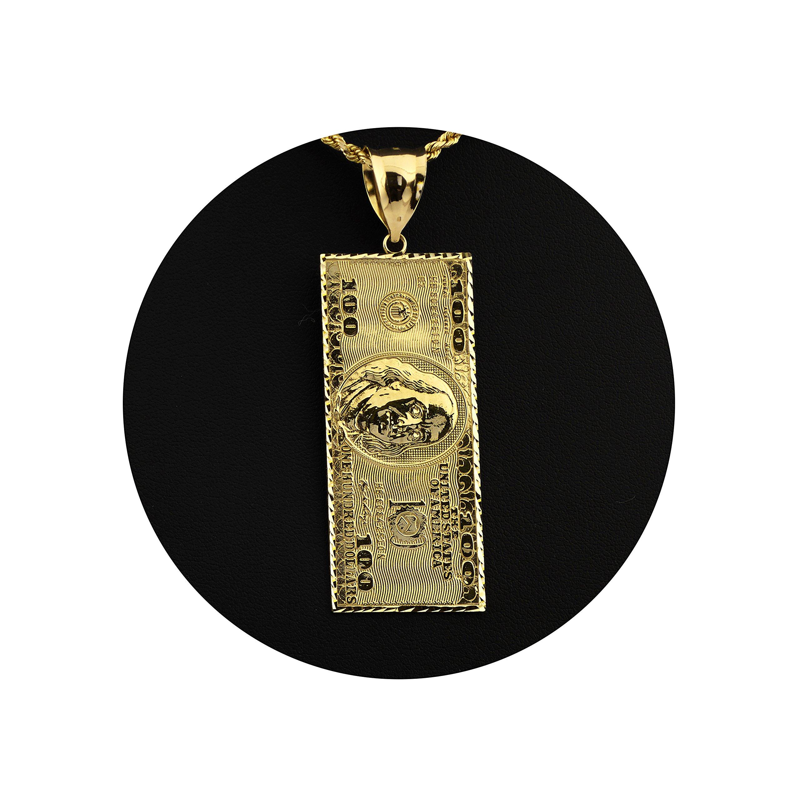 LoveBling 10K Yellow Gold Hundred Dollar Bill Diamond Cut Charm Pendant (2.60'' x 0.85'')