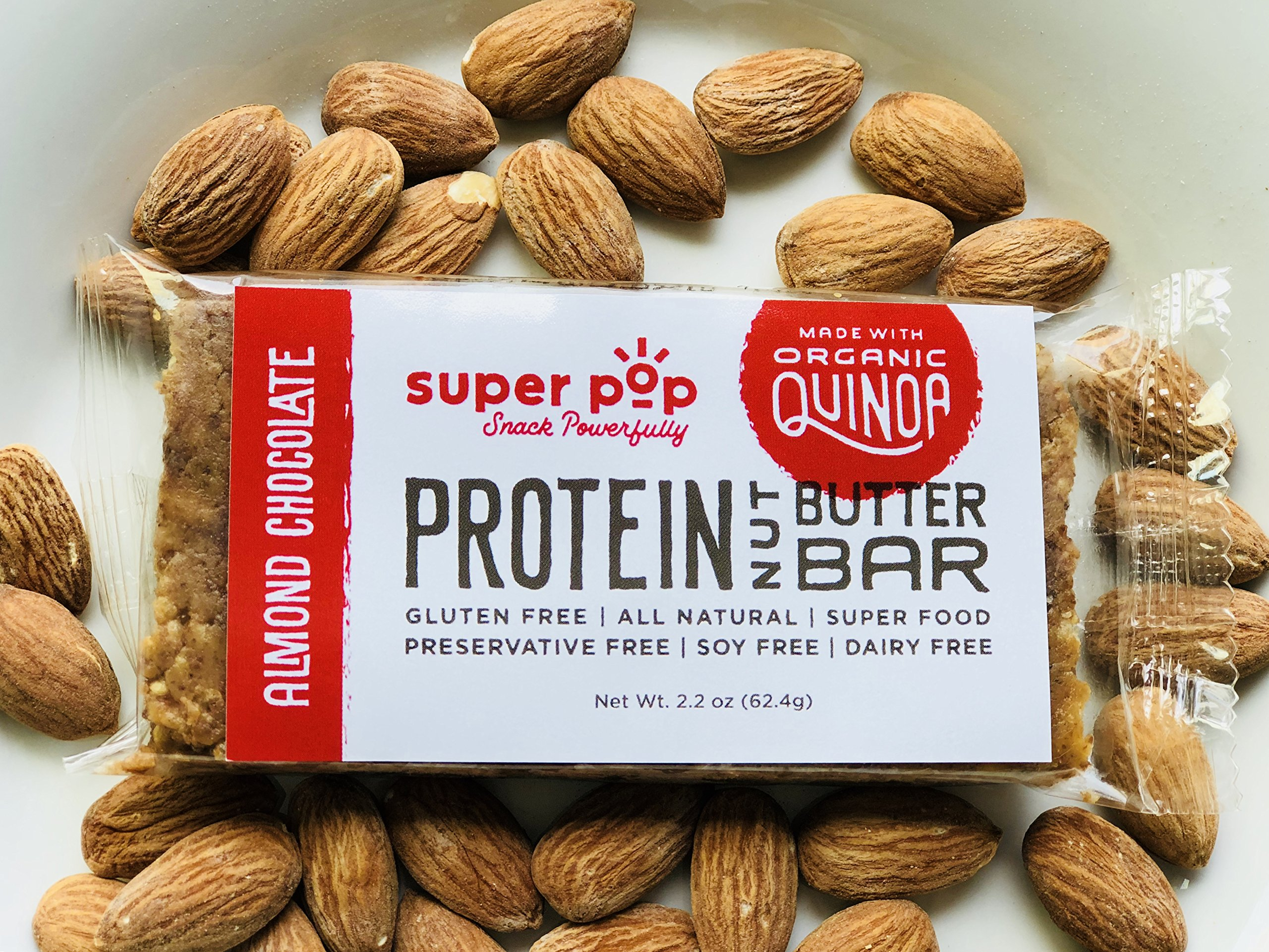 Super Pop Snacks, GLUTEN, SOY & DAIRY FREE, Plant Based Almond Chocolate Protein Nut Butter Bar— 12 Pack