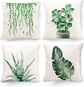 Hexagram Decorative Green Plant Pillow Covers 18 x 18, Succulent Green Leaf Summer Throw Pillow Covers Set of 4 Linen for Living Room Couch Sofa Patio Outdoor Indoor Summer Cactus Green Home Decor