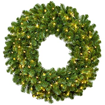 Christmas Green.Red Sleigh Sequoia Fir Commercial Grade Traditional Christmas Wreath And Matching Christmas Garland Greenery 30 Wreath Warm White Led Lights