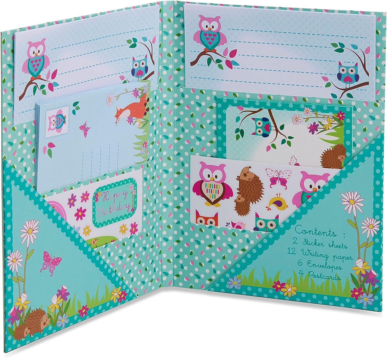 Juego de escritura infantil con animales del bosque de Lucy Locket - Kit de papelería con hojas de papel, sobres y postales para niños