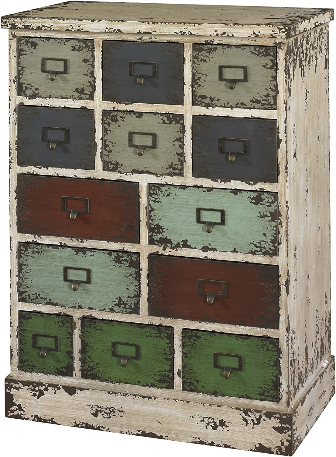 Powell Company 990-333 Parcel 13-Drawer Cabinet Distressed White, 37.13 X 28 X 17.75