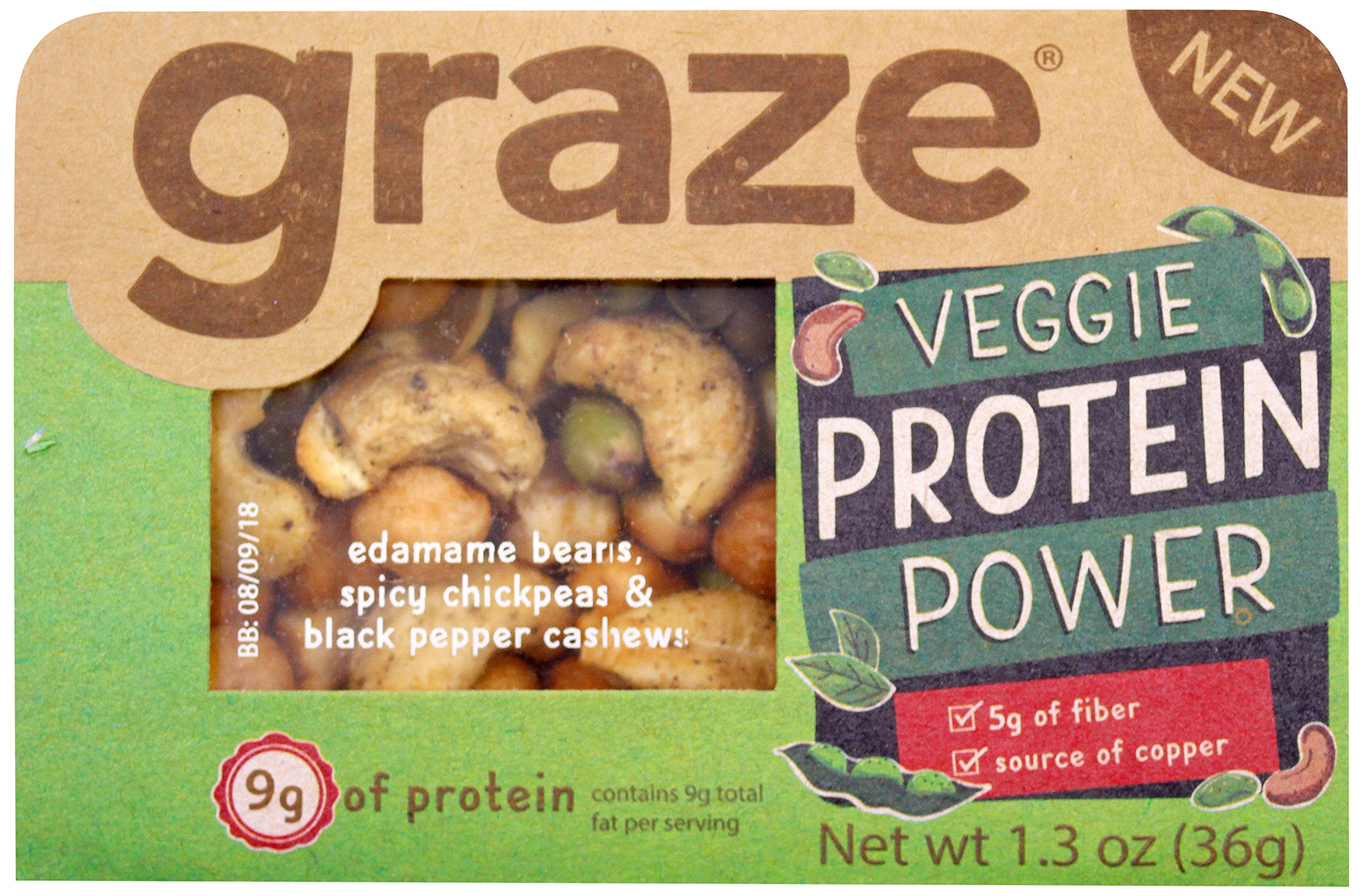 Graze Natural Veggie Protein Power Snack Mix with Spicy Chickpeas, Edamame Beans and Black Pepper Cashews, Tasty, Healthy, Natural Nut Trail Mix, 1.3 Ounce Box, 9 Pack by Graze (Image #1)