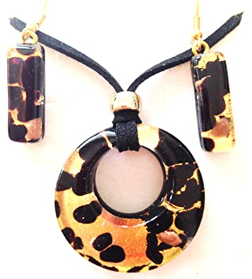 358cd28a04c Image Unavailable. Image not available for. Color: Black Gold Murano Glass  Necklace and Earrings Jewelry Set