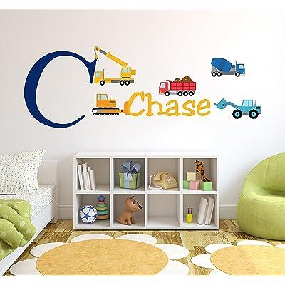 Personalized Trucks Name Wall Decal - Baby Boy Room Decor - Nursery Wall Decals - Trucks Vinyl Sticker: Baby