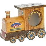 Tren de vapor Piggy Bank: Hucha con cerradura secreta: Madera Artesanal: Alta Calidad Tradicionál Navidad Regalo Para los muchachos, para las muchachas, para él, para ella, para los niños y para los adultos! 4 diseños (Tamaño 17x12x5.5cm)