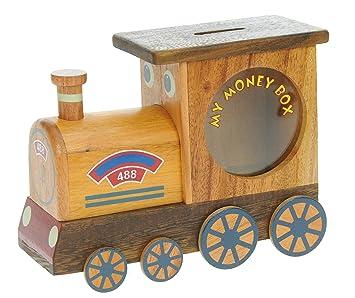 Namesakes Steam Train Money Box For Kids Wooden Piggy Bank For Children Top Xmas Gift For Boys Novelty Secret Lock Size 17 X 13 X 5cm